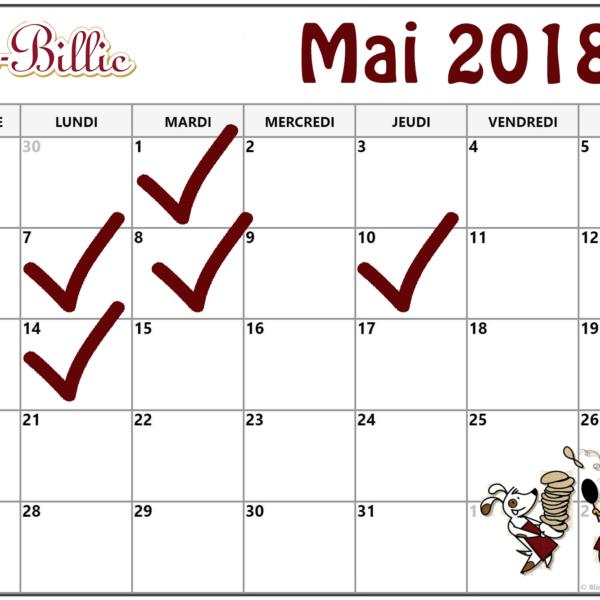 Fermetures exceptionnelles mai 2018